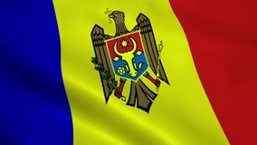 Realistic Moldova flag. Waving in the wind. Seamless looping stock video