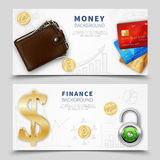 Realistic Money Horizontal Banners. With leather wallet colorful bank cards padlock dollar sign gold coins vector illustration Royalty Free Stock Images