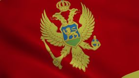 Realistic Montenegro flag stock video footage