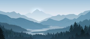 Realistic Mountains Landscape. Morning Wood Panorama, Pine Trees And Mountains Silhouettes. Vector Forest Background Stock Photos