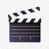 Realistic movie and film clapperboard icon on white transparent background. Art design cinema slate board template. Abstract vector illustration