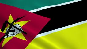Realistic Mozambique flag stock video footage