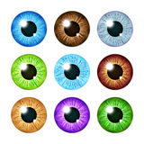 Realistic multi colored eyeball iris pupils set. Human color eyeball, illustration of eyeball green and blue Royalty Free Stock Photography