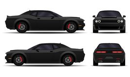 Realistic Muscle car. Realistic car. Muscle car. side view, back view, front view royalty free illustration