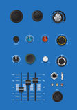 Realistic music control knobs and buttons with scales Royalty Free Stock Photos