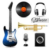 Realistic music icons set. Realistic music entertainment performance equipment set of earphones microphone vinyl disk isolated vector illustration Stock Photos
