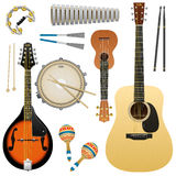 Realistic  musical instrument isolated on white background, acoustic guitar, ukulele, mandolin, snare drum, maracas, tambour Royalty Free Stock Image