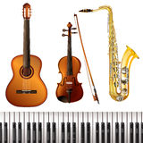 Realistic Musical Instruments Collection Stock Photo
