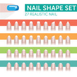 27 realistic nail. With french manicure various shapes Stock Image
