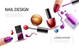 Realistic Nail Polish Concept. With colorful bottles lacquer splashes drops splatters and female fingers with beautiful manicure vector illustration vector illustration