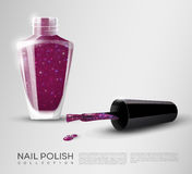 Realistic Nail Polish Template. With bottle opened lid and brush for manicure or pedicure  vector illustration Stock Photography