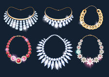 Realistic necklaces jewelry accessories icons set. Stock Photos