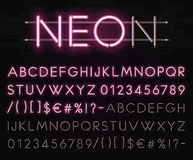 Realistic neon alphabet on a background of black brick wall. Bright glowing font. Vector format royalty free stock image