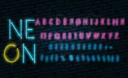 Realistic neon alphabet. Glowing font. Vector format royalty free illustration