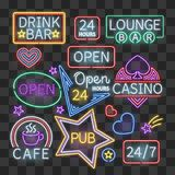 Realistic neon bar illumination signs  on transparent background Stock Image