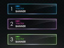 Realistic neon light horizontal banners vector set Stock Images