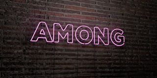 AMONG -Realistic Neon Sign on Brick Wall background - 3D rendered royalty free stock image. Can be used for online banner ads and direct mailers Royalty Free Stock Photos