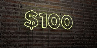 $100 -Realistic Neon Sign on Brick Wall background - 3D rendered royalty free stock image. Can be used for online banner ads and direct mailers Stock Photos