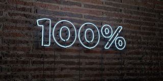 100% -Realistic Neon Sign on Brick Wall background - 3D rendered royalty free stock image. Can be used for online banner ads and direct mailers Stock Photography