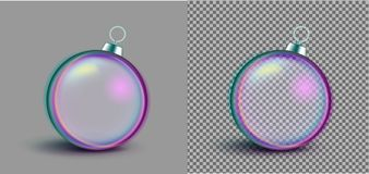 Realistic neon transparent Christmas ball. New year toy stock illustration