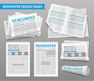 Realistic Newspaper Transparent Set. Set of newspaper design pages with breaking news on transparent background  realistic vector illustration Royalty Free Stock Images