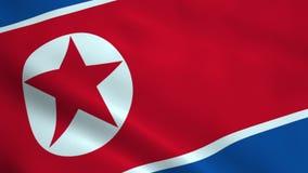 Realistic North Korea flag stock footage