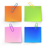Realistic note with paper clip Stock Images