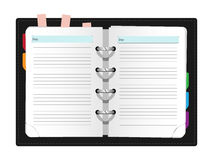Realistic notebook on grey background Stock Photo