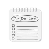 Realistic notepad with spiral. To do list icon with hand drawn t Royalty Free Stock Photos