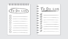 Realistic notepad with spiral. To do list icon with hand drawn t Stock Photography