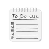 Realistic notepad with spiral. To do list icon with hand drawn t Royalty Free Stock Photography
