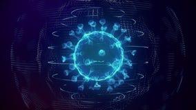 Realistic Novel Coronavirus 2019-nCov in blue digital grid seamless loop