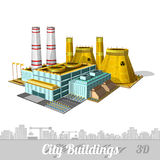 Realistic nuclear Power Plant on white Royalty Free Stock Photography