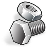 Realistic nut-bolt samplers. Very important things for construction ideas stock illustration