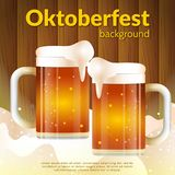 Realistic Octoberfest. Oktoberfest menu lettering with two clinking mugs of beer royalty free illustration