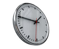 Realistic Office Clock. Close Up of Realistic Office Clock on Concrete Wall with Black anf Red Hands, Classic Clock Face with Focus on Center, Round Clock Stock Photos