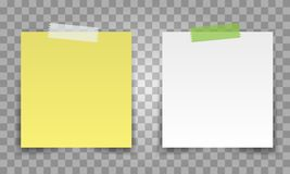 Realistic Office Paper Sheet Pin With Transparent Tape. White And Yellow Post Note Vector For Your Design. Royalty Free Stock Photos