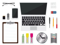Realistic office supplies with notebook, clipboard, glasses, Stock Image