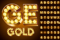 Realistic old lamp alphabet Royalty Free Stock Images