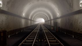 Realistic old Subway metro tunnel arriving concept. Realistic old Subway metro tunnel,and arriving concept. 3D render Royalty Free Stock Images