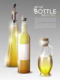 Realistic Olive Oil Bottles Set. Of different shapes and sizes on transparent background vector illustration royalty free illustration