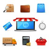 Realistic online shopping icons Royalty Free Stock Images
