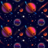 Realistic open space. The milky way, stars and planets. Alien planet background. Gas giant with planets.Vector cosmic illustration vector illustration