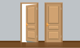 Realistic opened and closed classic wooden door. Flat color style Stock Photo