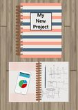 Realistic opened notebook. Template mock up of organizer or diary isolated. Horizontal lined notebook. Illustration of. Realistic opened notebook. Template mock Royalty Free Stock Images
