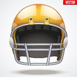 Realistic Orange American football helmet. Front Stock Photography