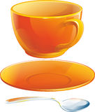 Realistic orange cup with saucer and teaspoon. Isolated illustration Stock Photos