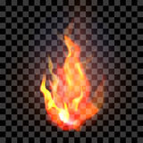 realistic orange and red fire flame on a transparent ba. Ckground. Vector illustration Royalty Free Stock Images