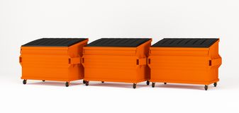 Realistic orange trash boxes Stock Photo