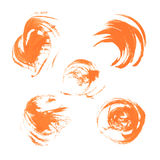 Realistic orange vector circles drawn thick paints Royalty Free Stock Photography